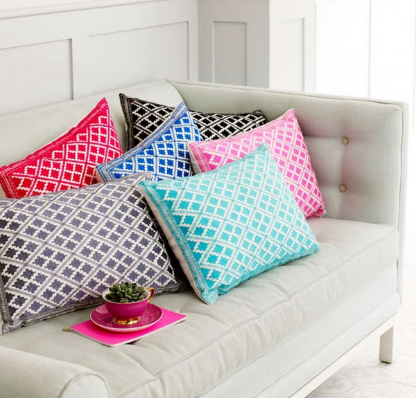 Timbuktu Diamond Embroidered Cushion Aqua
