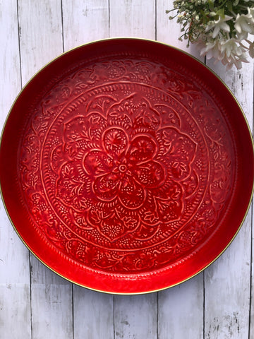 Round Enamel Red Tray