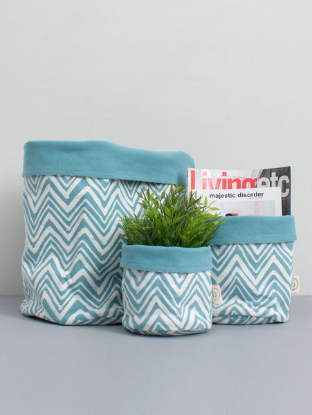 Zig Zag Canvas Storage Pot, Duck Egg (Medium)