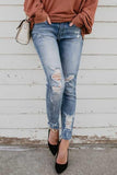 Luluautumn Denim Ripped Pencil Trousers