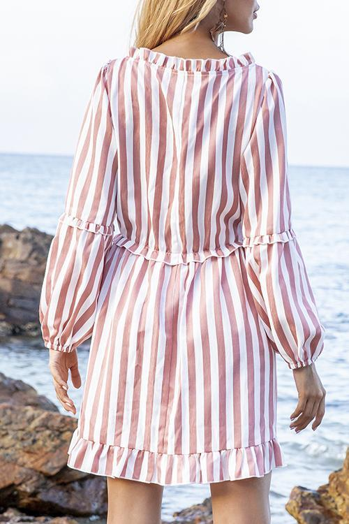 Luluautumn V Neck A-Line Daytime Striped Mini Dress