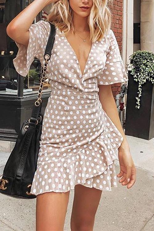 Luluautumn V-Neck Polka Dot Ruffled Tie Dress
