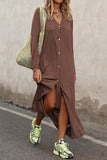 Luluautumn Solid Color Long Sleeve Button Maxi Dress