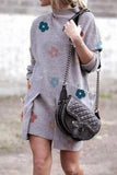 Luluautumn Printed Round Neck Pullover Dress