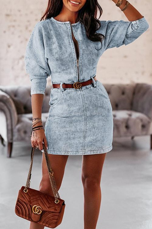Luluautumn V-Neck Sexy Zipper Denim Dress