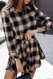 Luluautumn Checked Lapel Long Sleeve Shirt Dress
