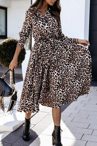 Luluautumn Leopard Print Belt Maxi Dress