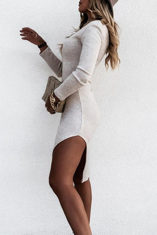 Luluautumn V-Neck Split Tight Long Sleeve Dress