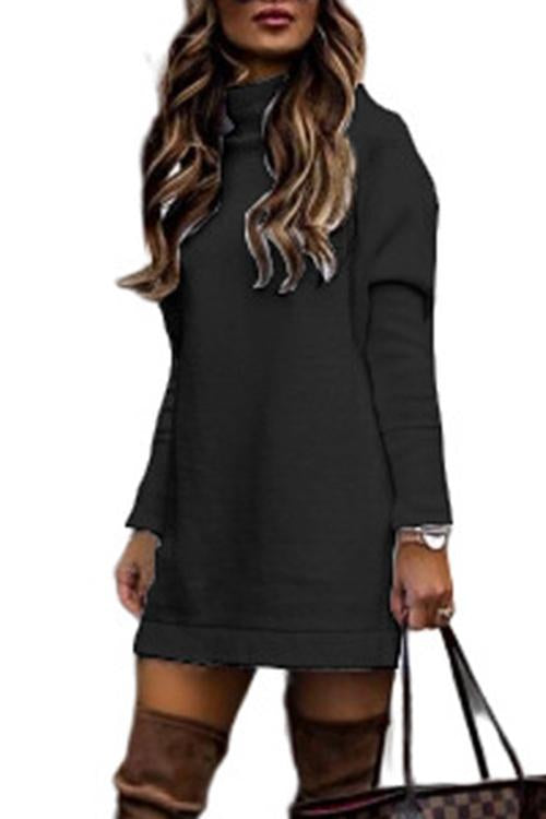 Luluautumn Round Neck Long Sleeve Knitted Dress