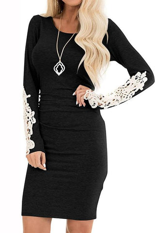Luluautumn Slim Dress With Lace Stitching Sleeves