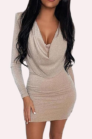 Luluautumn Slim Sexy V-Neck Glitter Dress