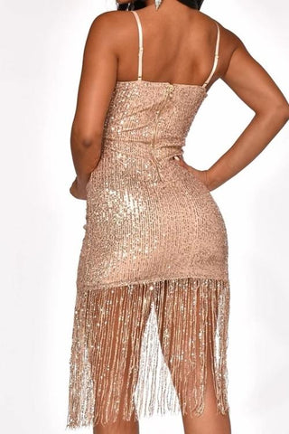Luluautumn Strap Sequins Party Cocktail Tassel Dress