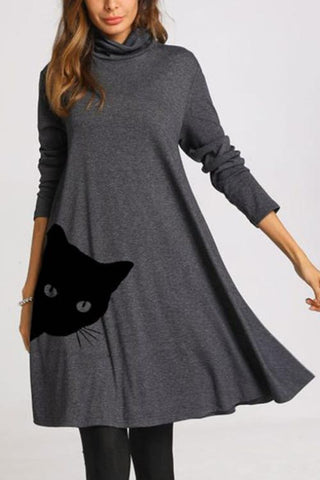 Luluautumn Long Sleeve Loose A line Midi Dress