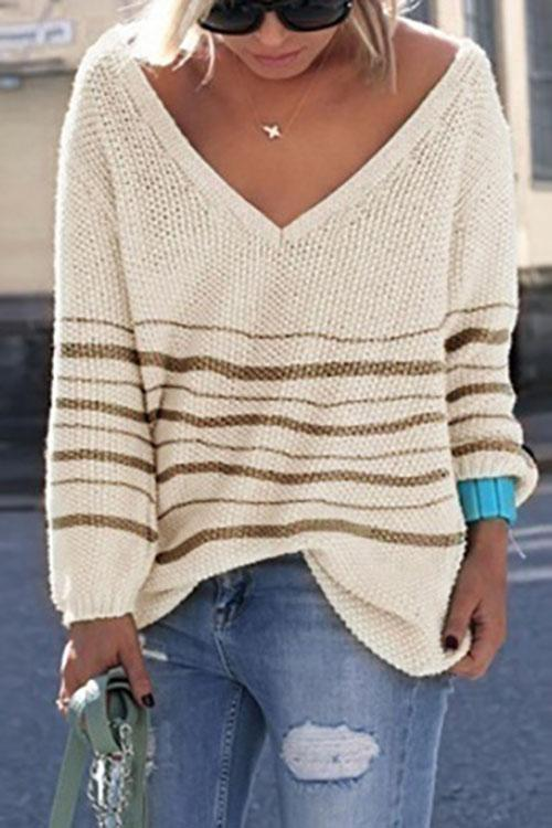 Luluautumn V Neck Striped Loose Knitting Sweater