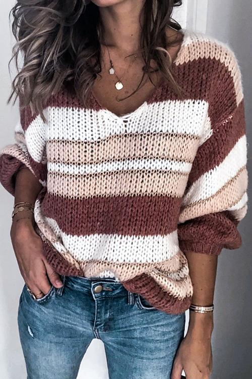Luluautumn V Neck Color-Block Sweater(4 colors)