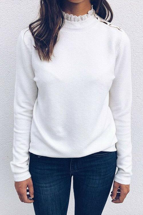 Luluautumn Lace Stitching Shoulder Button Sweater