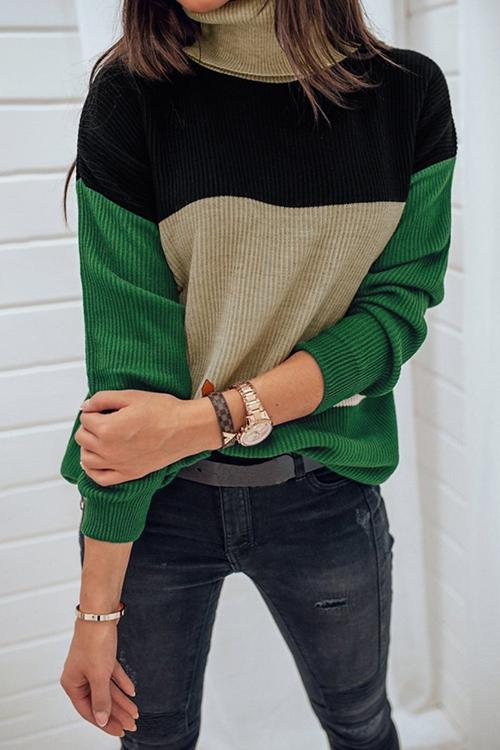 Luluautumn Color Matching Turtleneck Sweater