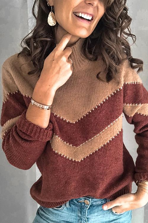 Luluautumn V-Shaped Stripe Stitching Sweater