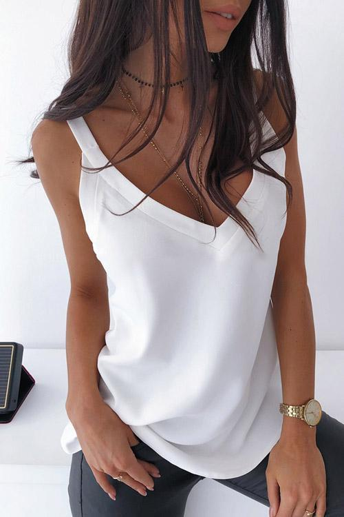 Luluautumn V-Neck Sling Backless Vest