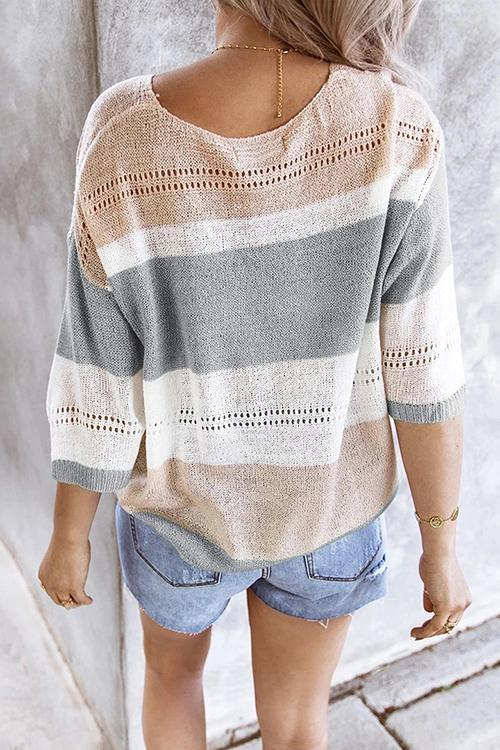 Luluautumn V-Neck Contrast Color Knitted Shirt