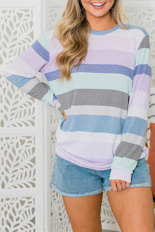 Luluautumn O Neck Striped Long Sleeve T-shirt