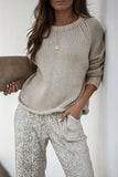 Luluautumn Solid Color Round Neck Long Sleeve Sweater