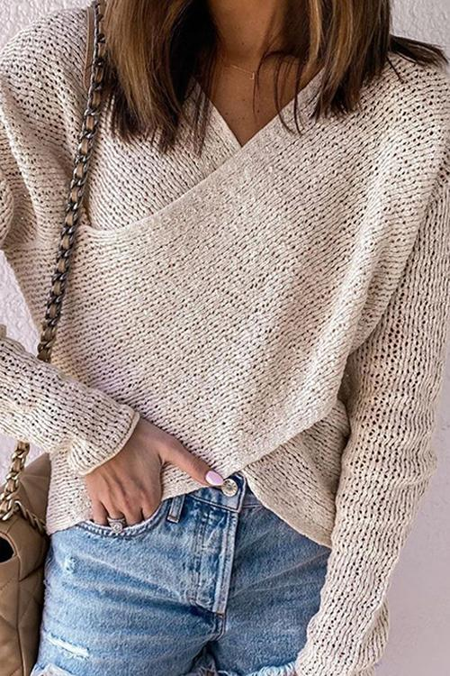 Luluautumn Solid Color Knitted V-neck Sweater