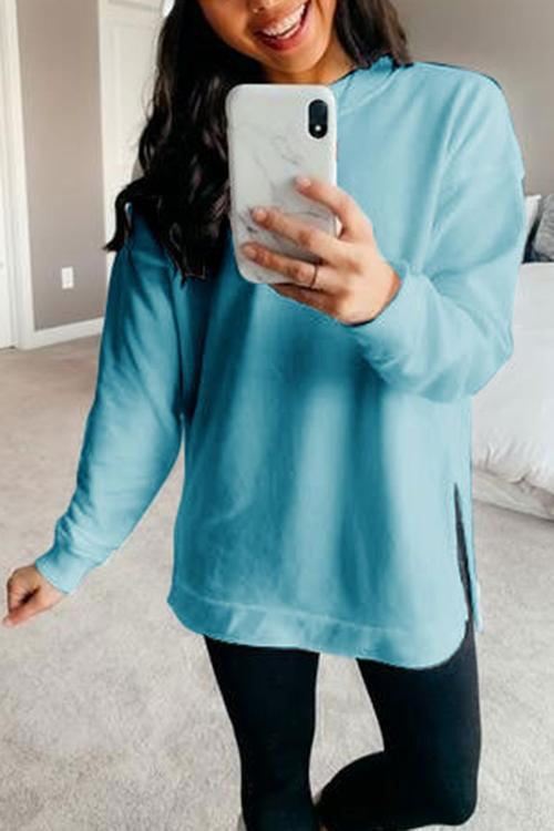 Luluautumn Solid Color Long Sleeve Split T-Shirt