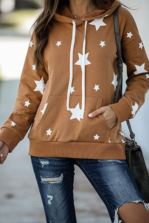 Luluautumn Pentagram Print Hooded Pocket Sweatshirt