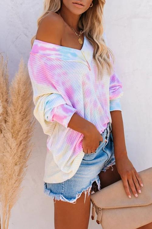 Luluautumn Tie-Dye Pullover V-Neck Waffle T-Shirt