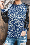 Luluautumn Leopard Stitching Sequined T-Shirt