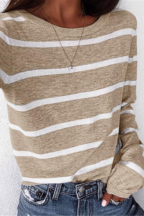 Luluautumn Striped Crew Neck Long Sleeve Shirts