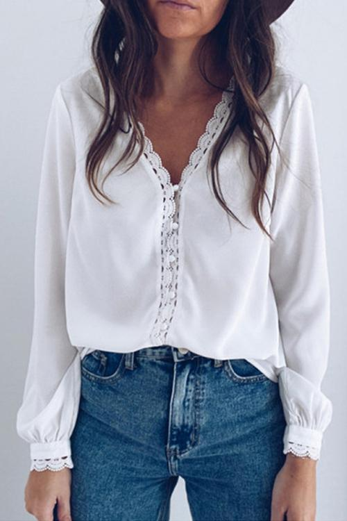 Luluautumn V-Neck Lace Panel Shirt