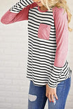 Luluautumn Round Neck Striped Stitching Pocket T-Shirt