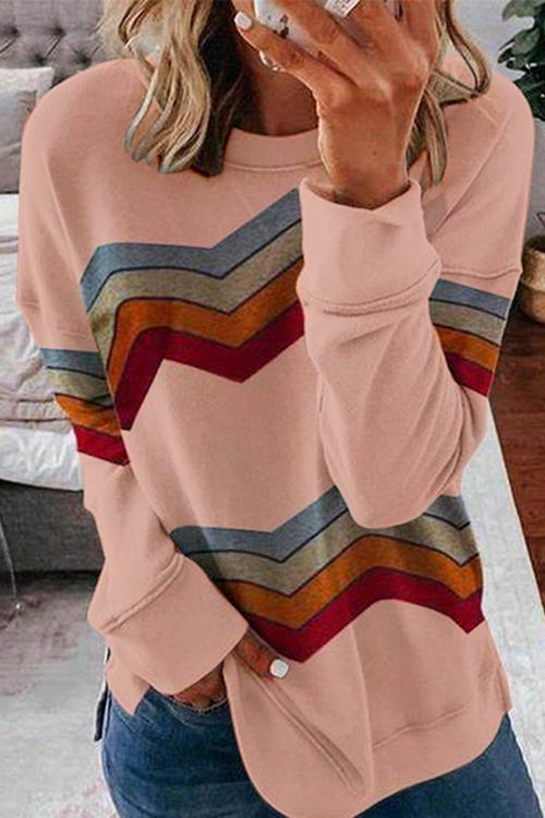Luluautumn Striped Color Block Sweatshirt