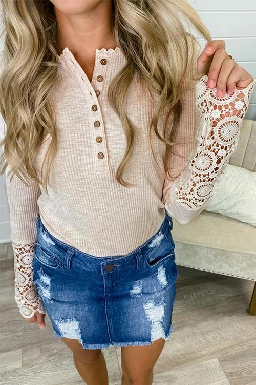 Luluautumn Hollow Button Lace Top