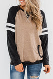 Luluautumn Long Sleeve Striped Color Block T-Shirt