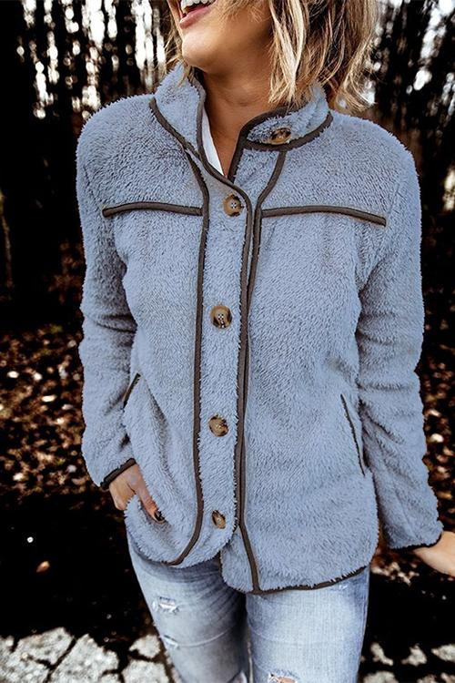 Luluautumn Casual Terry Stand Collar Stitching Button Coat