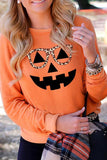 Luluautumn Halloween Pumpkin Leopard Glasses T-shirt