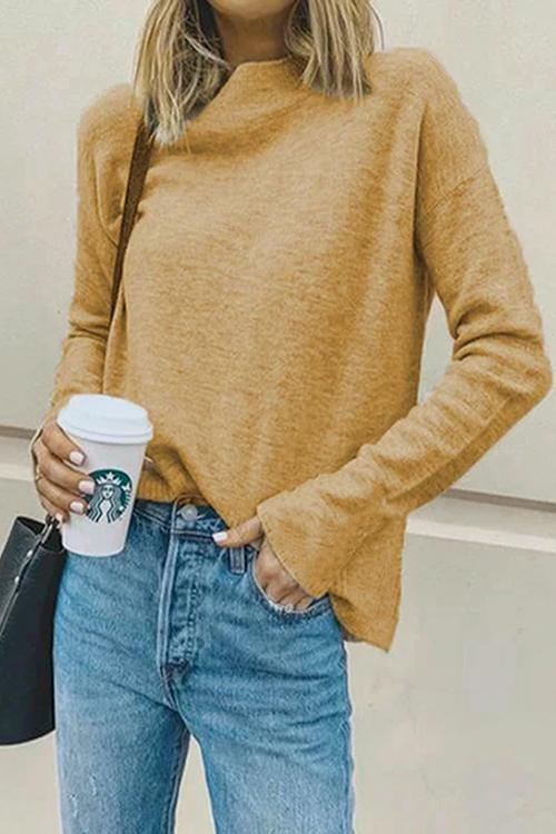 Luluautumn Stand-Up Collar Solid Color Casual Sweater