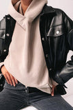 Luluautumn Single-Breasted Casual Leather Jacket