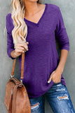 Luluautumn V-Neck Button Long Sleeve T-Shirt