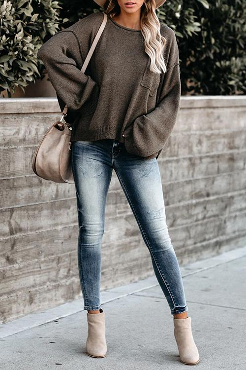 Luluautumn Loose Flared Sleeve Solid Color Sweater