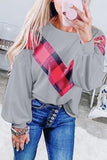 Luluautumn Loose Check Print Long Sleeve T-Shirt