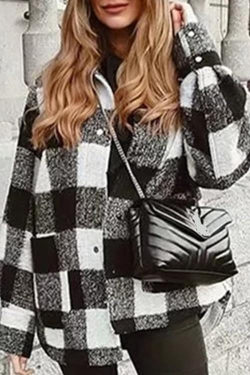 Luluautumn Fashion Plaid Woolen Coat