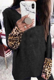 Luluautumn Round Neck Leopard Contrast Long-Sleeved T-Shirt