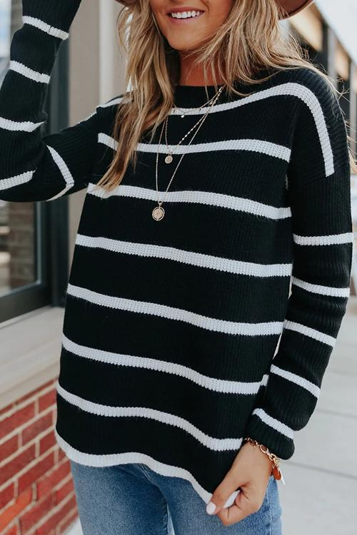 Luluautumn Striped Loose Sweater