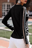 Luluautumn Beaded Long Sleeve Round Neck Bottoming Shirt