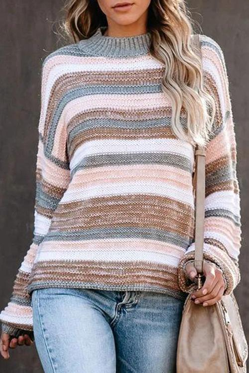 Luluautumn Sweet Striped Loose Sweater