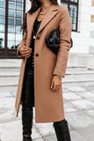 Luluautumn Solid Color Lapel Long Coat